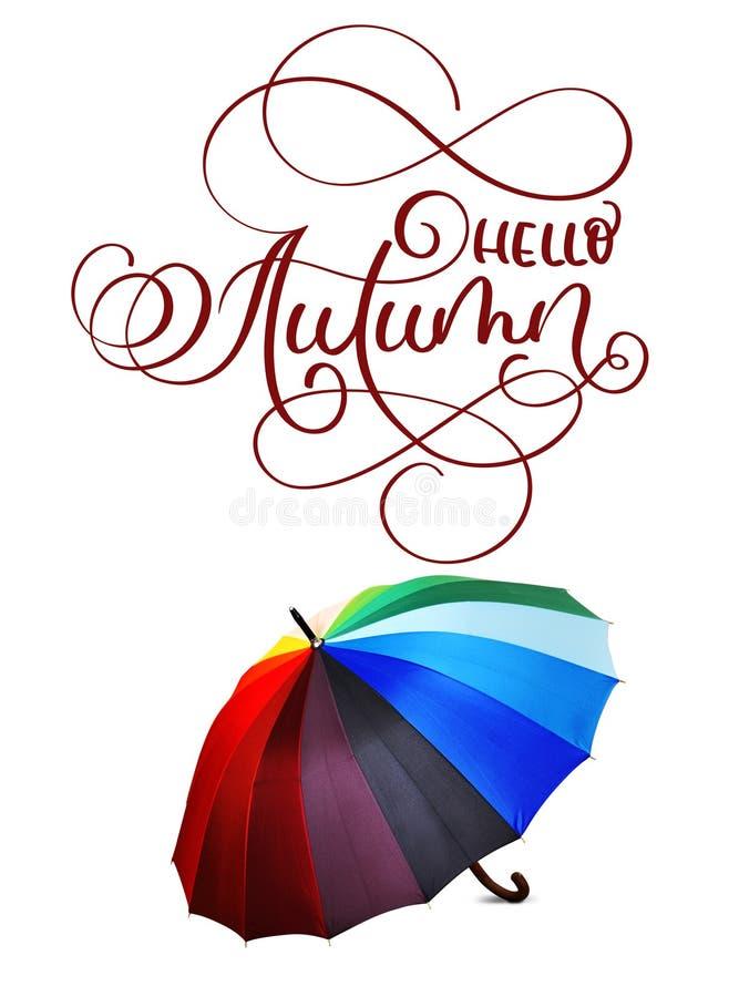Kaligrafii literowania teksta jesień i kolorowy parasol na białym tle cześć zdjęcie royalty free