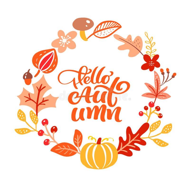 Kaligrafii literowania teksta jesie? cze?? Round tła ramy wianek z kolorem żółtym opuszcza bani, pieczarek i jesieni, ilustracja wektor