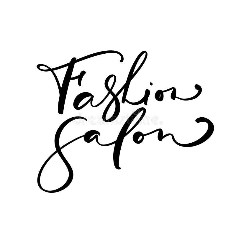 Kaligrafii literowania teksta mody salon Logo nowożytnego projekta wektorowy ilustracyjny płaski fryzjer męski royalty ilustracja