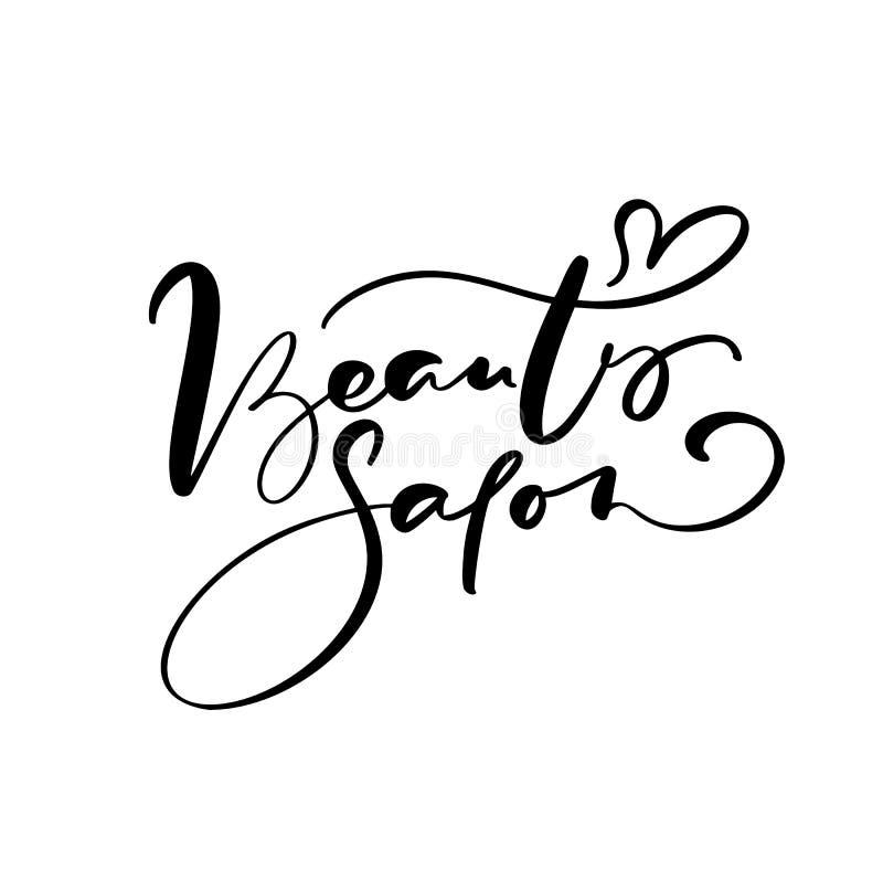 Kaligrafii literowania teksta piękna salon Logo nowożytnego projekta logo wektorowy ilustracyjny płaski fryzjer męski royalty ilustracja