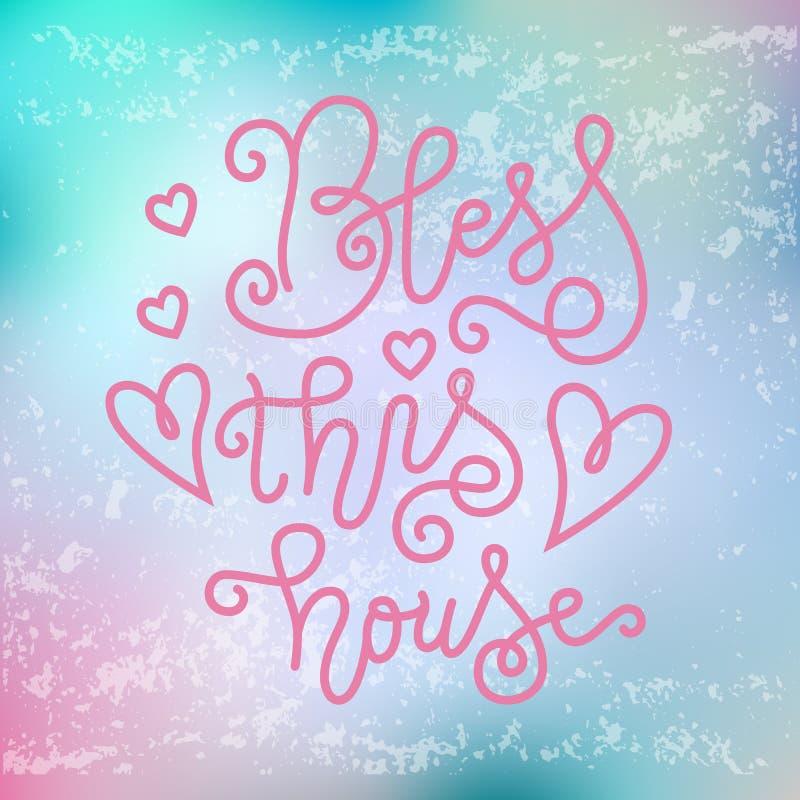 Kaligrafii literowanie Błogosławię ten dom w menchiach na różowym błękitnym tle z teksturą ilustracji