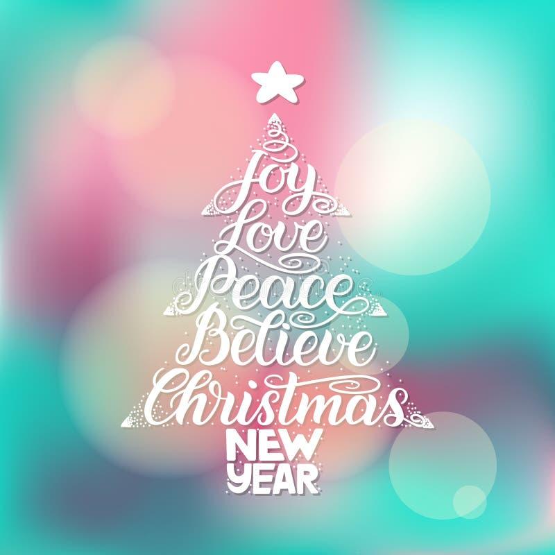Kaligrafii literowanie w choinki formie z gwiazdą Nowy Rok, boże narodzenia, radość, miłość, pokój, Wierzy ilustracji
