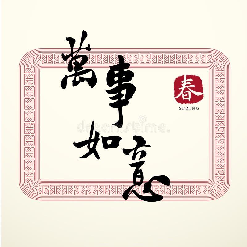 Kaligrafii szczęścia Chińscy symbole ilustracji