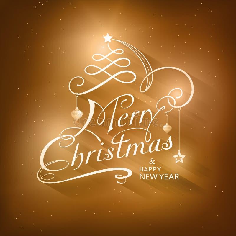 Kaligrafii Wesoło kartka bożonarodzeniowa ilustracja wektor