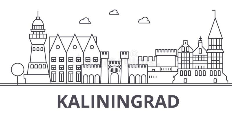 Kaliningrad architektury linii linii horyzontu ilustracja Liniowy wektorowy pejzaż miejski z sławnymi punktami zwrotnymi, miasto  ilustracji