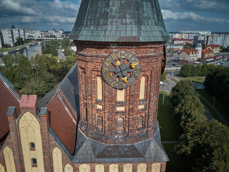 kaliningrad för ön för tegelstenbyggnadsdomkyrkan pregel gotisk konigsberg stil Kaliningrad förr Koenigsberg, Ryssland royaltyfria foton