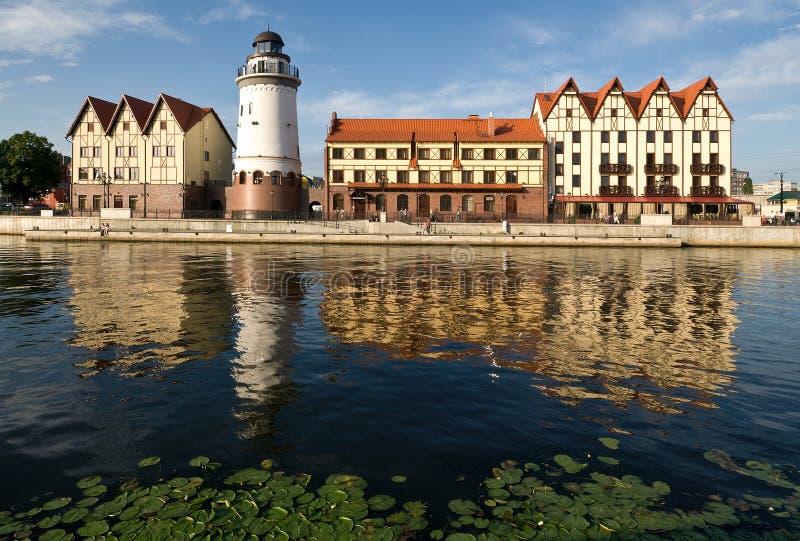 Kaliningrad. Koenigsberg. Het Dorp van vissen stock afbeeldingen
