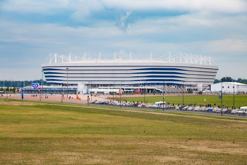 KALININGRAD, RÚSSIA - 13 DE JUNHO DE 2018: A ideia do estádio de futebol moderno de Kaliningrad igualmente chamou Arena Baltika imagem de stock