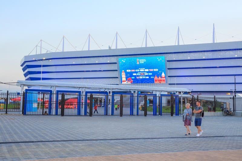 KALININGRAD, RÚSSIA - 16 DE JUNHO DE 2018: Vista da arena moderna Baltika do estádio de futebol de Kaliningrad imagens de stock royalty free