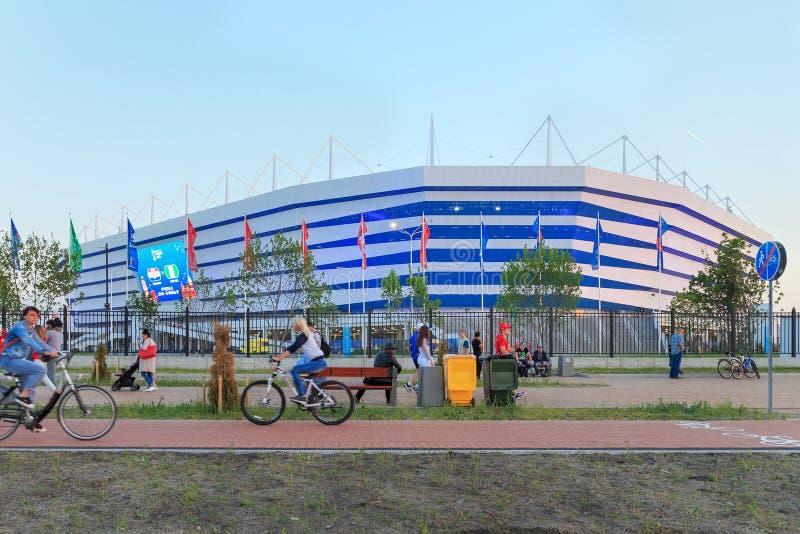 KALININGRAD, RÚSSIA - 16 DE JUNHO DE 2018: Vista da arena moderna Baltika do estádio de futebol de Kaliningrad imagem de stock royalty free