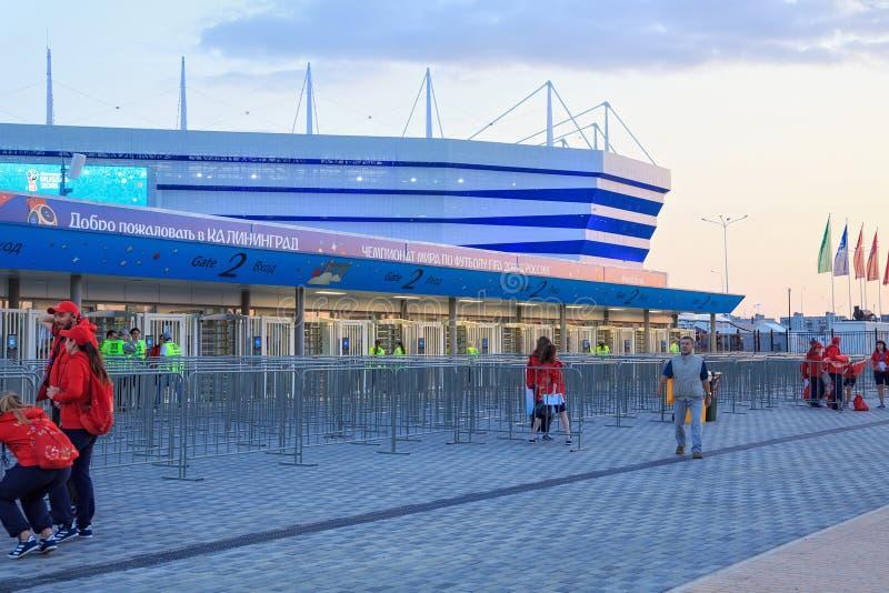 KALININGRAD, RÚSSIA - 16 DE JUNHO DE 2018: Vista da arena moderna Baltika do estádio de futebol de Kaliningrad fotos de stock royalty free