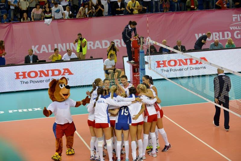 Kaliningrad, Rússia A equipa nacional de mulheres uma equipe de Rússia imagem de stock royalty free
