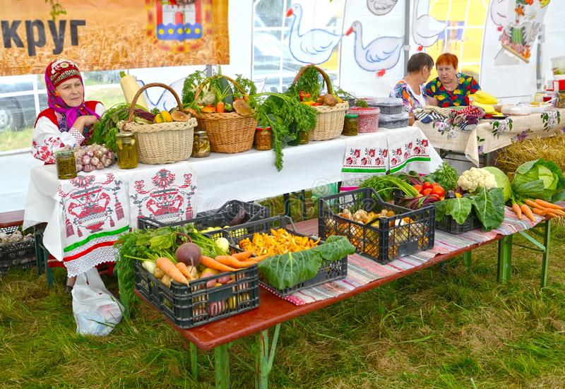 KALININGRAD REGION, RUSSIA. Trade in agricultural production at a fair stock images