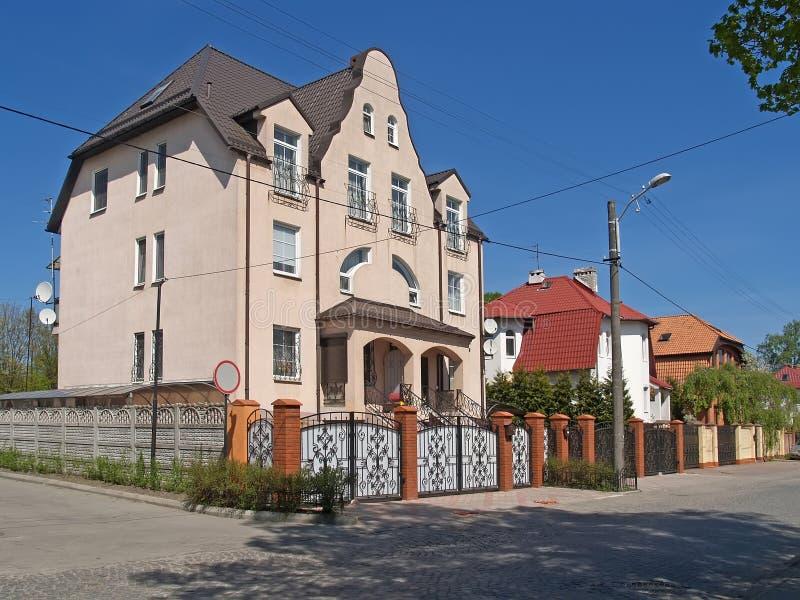 Kaliningrad, Rosja Chałupy na Turgenev ulicie obrazy stock