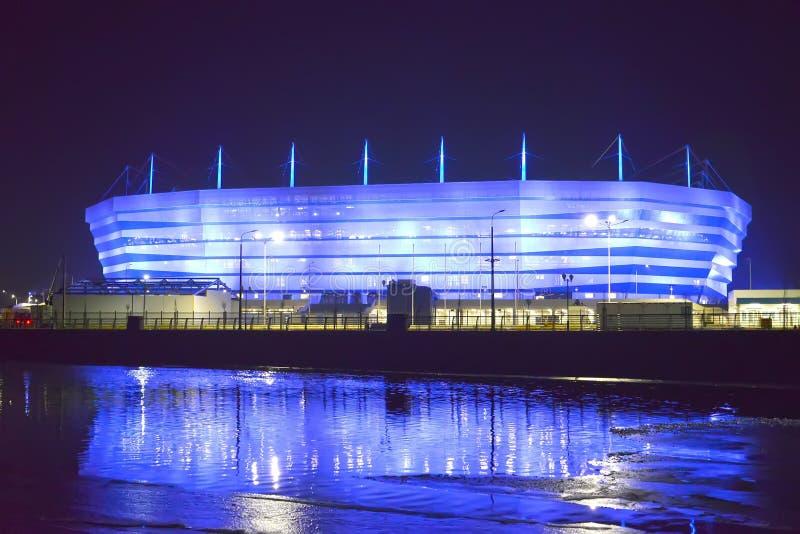 Kaliningrad, Rosja Częściowy włączenie wieczór iluminacja Bałtycki areny stadium dla trzymać gry FIFA puchar świata zdjęcie stock