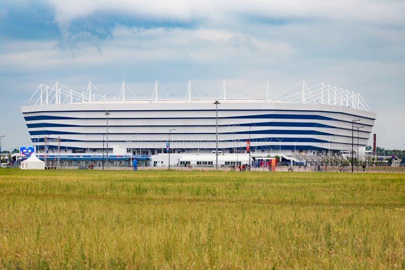 KALININGRAD ROSJA, CZERWIEC, - 13, 2018: Widok nowożytny Kaliningrad stadion futbolowy także dzwonił Arenę Baltika zdjęcia royalty free