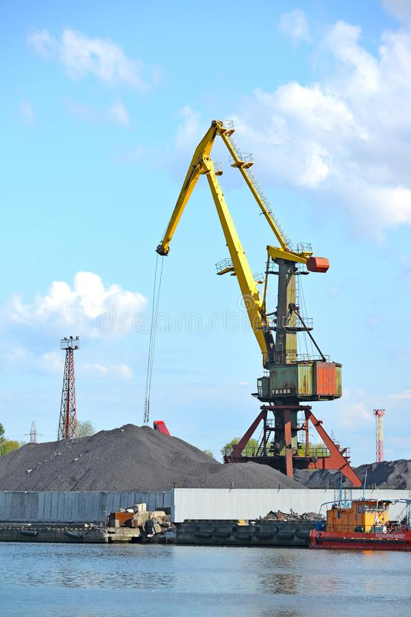 Kaliningrad, Rosja Portowe żuraw pracy przy węglowym ładowaniem Handlowy port morski obraz royalty free