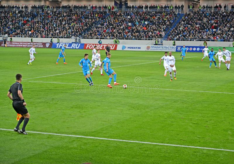 KALININGRAD, RUSSIA. The game moment in a football match of the Baltika teams - Krylja Sovetov. Baltic Arena stadium. KALININGRAD, RUSSIA - APRIL 11, 2018: The stock photo