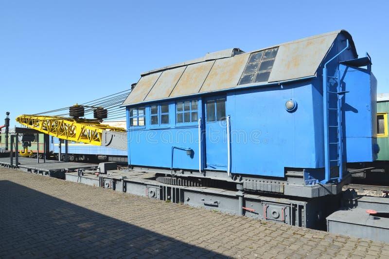 KALININGRAD, RUSSIA.The railway DZh-45 No. 9 crane costs at the platform. Museum of history of the Kaliningrad  railroad stock photography