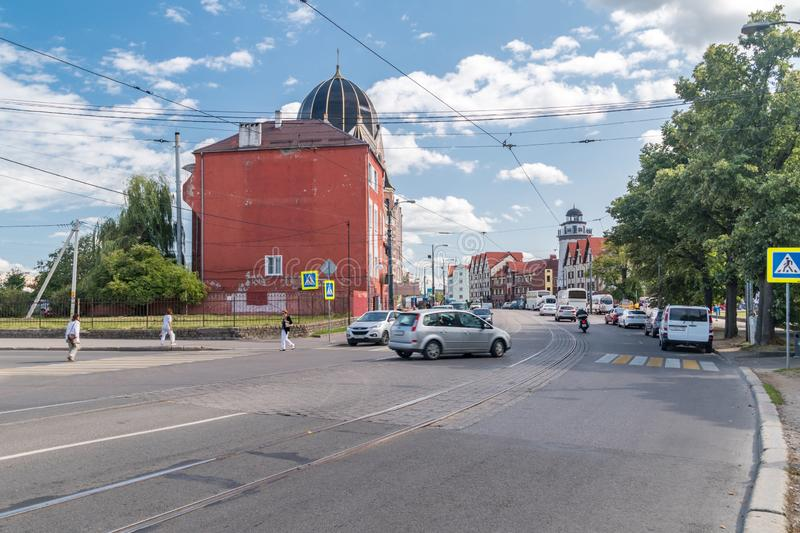 Oktyabr`skaya street in Kaliningrad city, Russian Federation. Kaliningrad, Russia - August 4, 2019: Oktyabr`skaya street in Kaliningrad city, Russian Federation royalty free stock photo