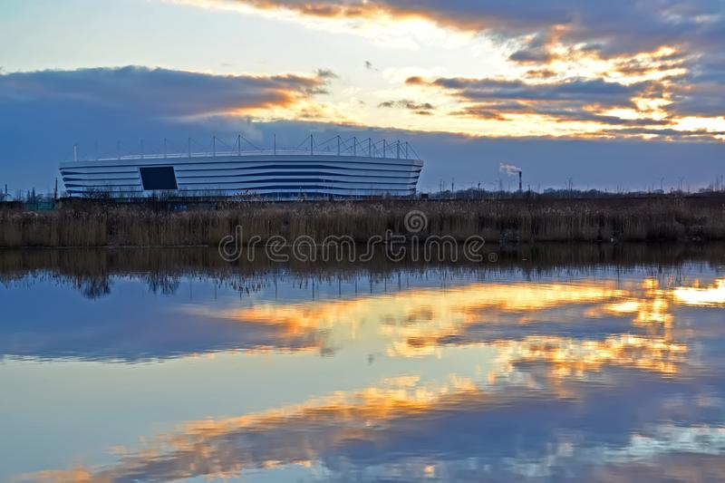 KALININGRAD, RUSSIA. Baltic Arena stadium for holding games of the FIFA World Cup of 2018 at sunset.  royalty free stock photos
