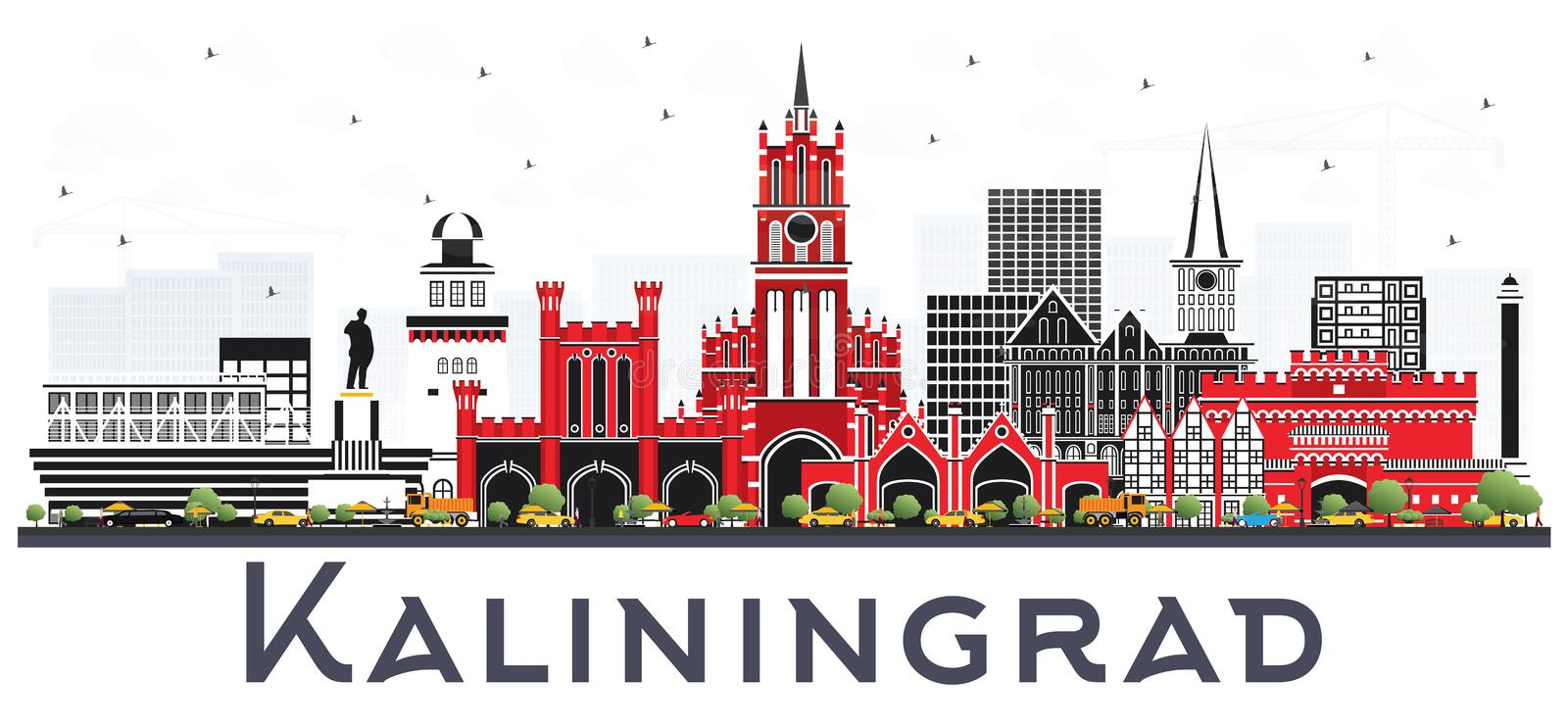 Kaliningrad Russia City Skyline with Color Buildings Isolated on. White Background. Vector Illustration. Business Travel and Tourism Concept with Historic royalty free illustration