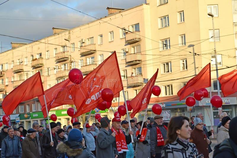 KALININGRAD, RUSSIA. Demonstration marking the 100th anniversary of the Great October Socialist Revolution. KALININGRAD, RUSSIA - NOVEMBER 07, 2017 stock image