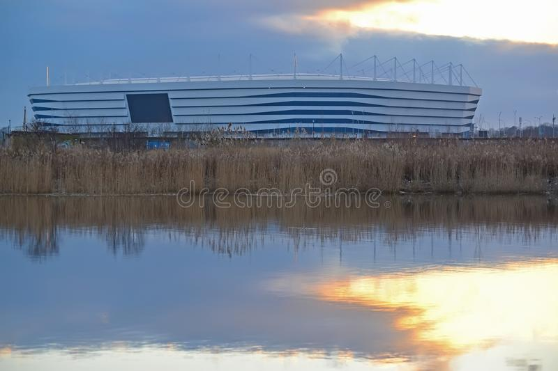 KALININGRAD, RUSSIA. Baltic Arena stadium for holding games of the FIFA World Cup of 2018 in twilight. KALININGRAD, RUSSIA - FEBRUARY 04, 2018: Baltic Arena stock photography