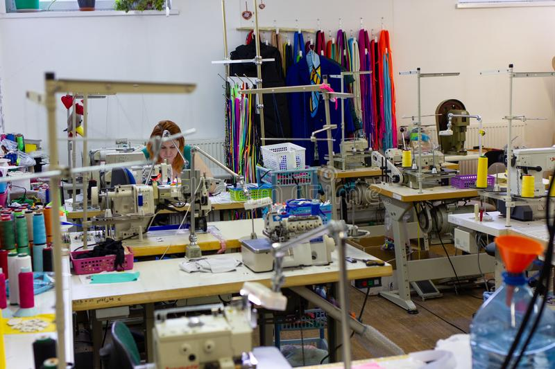 Kaliningrad, Russia - February 27, 2019: Small sewing workshop for women`s underwear royalty free stock photography
