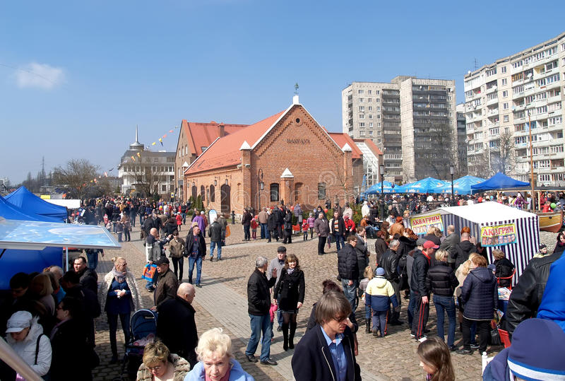KALININGRAD, RUSSIA. Festivities in the territory of Museum of the World Ocean. Day of herring royalty free stock photo