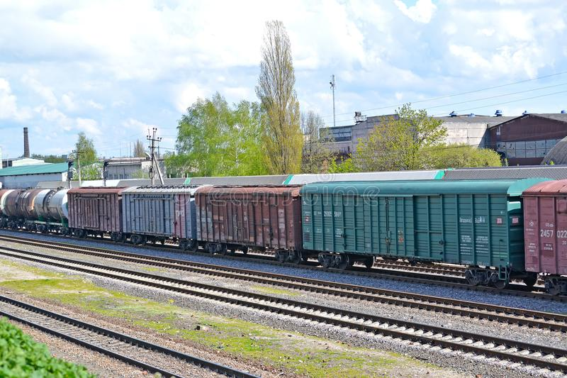 KALININGRAD, RUSSIA. The freight train costs at the railway station royalty free stock photography