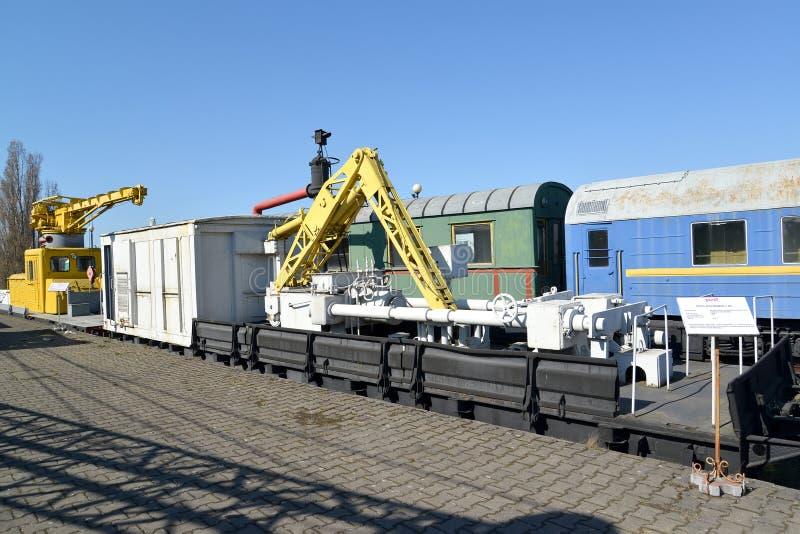 Kaliningrad, Russia Gru ferroviaria T di modello 403 della stampa Museo di storia della ferrovia di Kaliningrad fotografia stock
