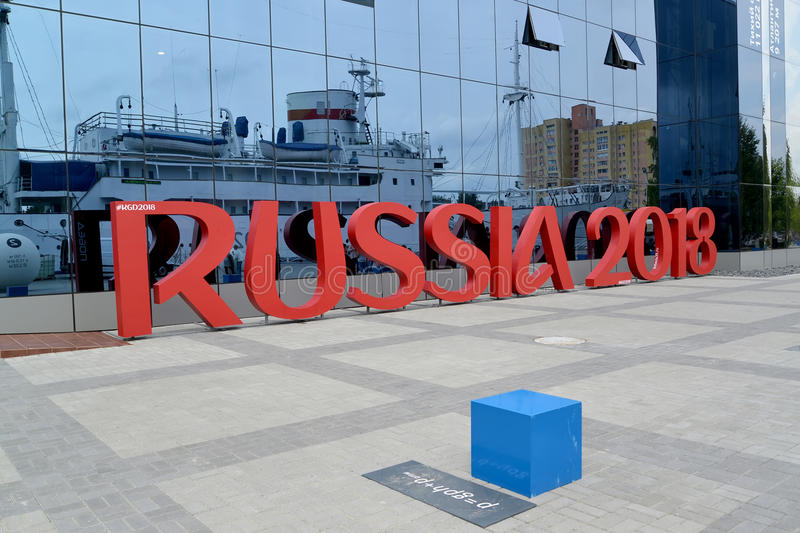 KALININGRAD, RUSSIA. Installation of the inscription RUSSIA 2018 symbolizes the FIFA World Cup in Russia stock images
