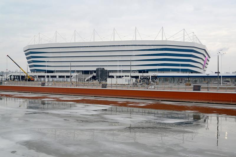 KALININGRAD, RUSSIA. Baltic Arena stadium for holding games of the FIFA World Cup of 2018 in winter day royalty free stock photo