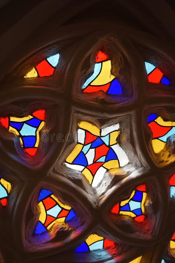 Bright glass stained glass Windows in the Cathedral royalty free stock photo
