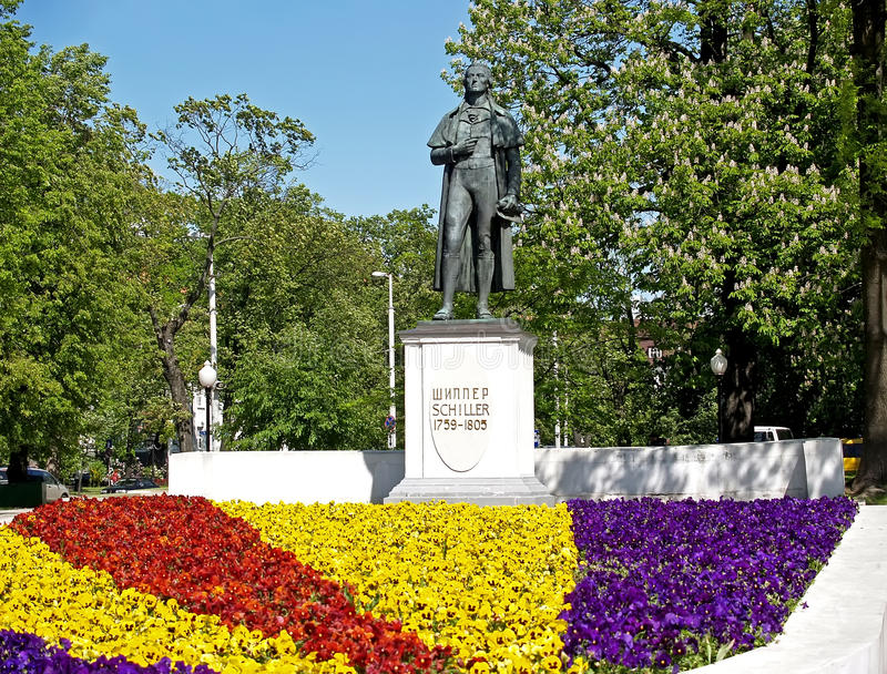 Kaliningrad, Russia. Monument to poet Friedrich Schiller. Russia royalty free stock image