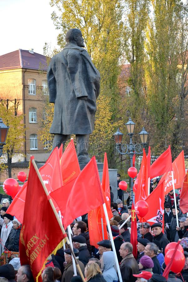 KALININGRAD, RUSSIA. A meeting of the CPRF, devoted to the 100th anniversary of Great October socialist  revolution about a monume. KALININGRAD, RUSSIA royalty free stock photo