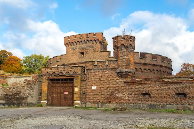 Wrangel tower - fortification, located in the city of Kaliningrad. KALININGRAD, RUSSIA - OCTOBER, 18, 2017: Wrangel tower - fortification, located in the city royalty free stock photo