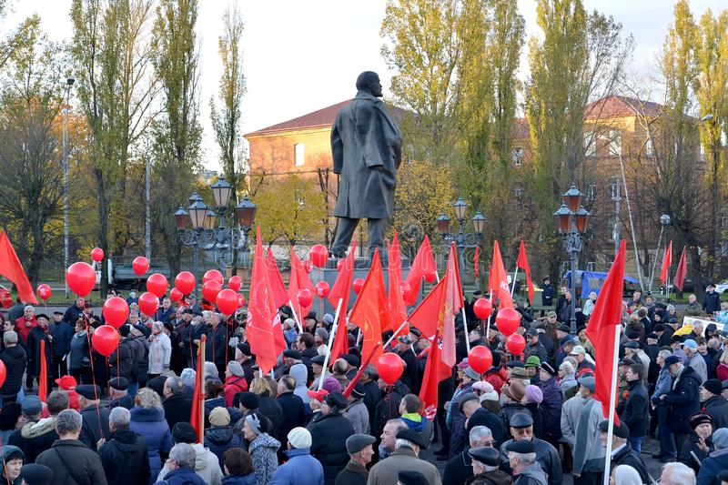 KALININGRAD, RUSSIA. People on the meeting of the CPRF devoted to the 100th anniversary of Great October socialist revolution abou. KALININGRAD, RUSSIA royalty free stock photography