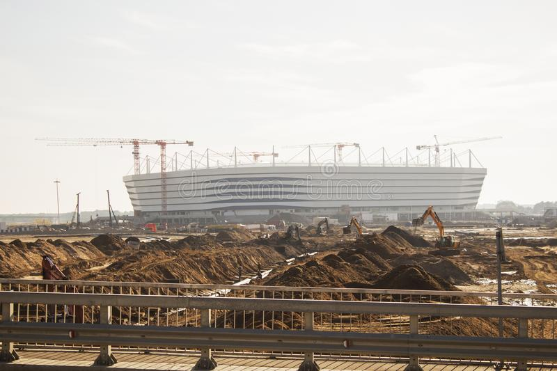 Kaliningrad-Russia, 28 September, 2017: Construction of a football stadium for the 2018 world Cup. Editorial royalty free stock image