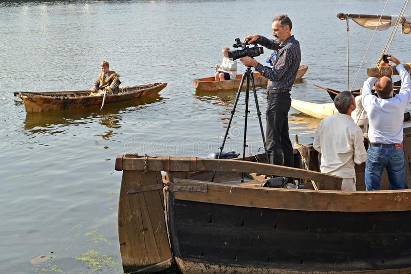 KALININGRAD, RUSSIA. The video operator behind work during the holiday `Water Assembly`. Pregolya River royalty free stock image