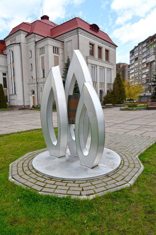 Kaliningrad, Russia Un segno memorabile in onore dell'anniversario 100 della battaglia di Gumbinnensky contro il museu di arte e  fotografie stock libere da diritti