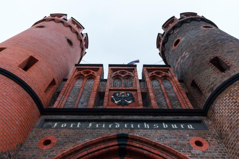 Kaliningrad, Russische Federatie - 4 Januari, 2018: Het Friedrichsburg-Poortmuseum stock afbeeldingen