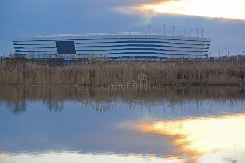 Kaliningrad, Russland Baltisches Arenastadion für das Halten von Spielen der Fußball-Weltmeisterschaft von 2018 in der Dämmerung stockfotografie