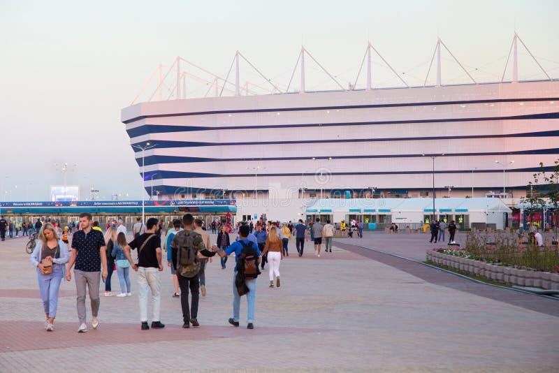 KALININGRAD, RUSSLAND - 16. JUNI 2018: Ansicht des modernen Kaliningrad-Fußballstadions rief auch Arena Baltika an stockfotografie