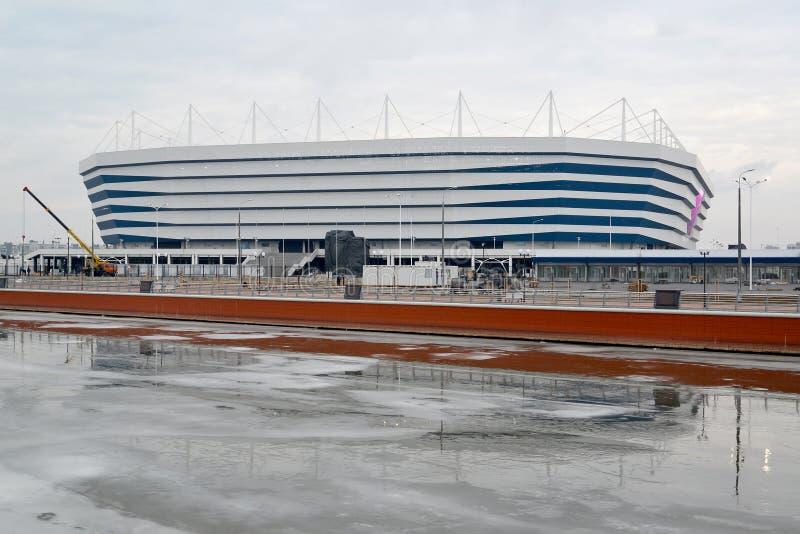 Kaliningrad Ryssland Baltisk arenastadion för att rymma lekar av den FIFA världscupen av 2018 i vinterdag royaltyfri foto