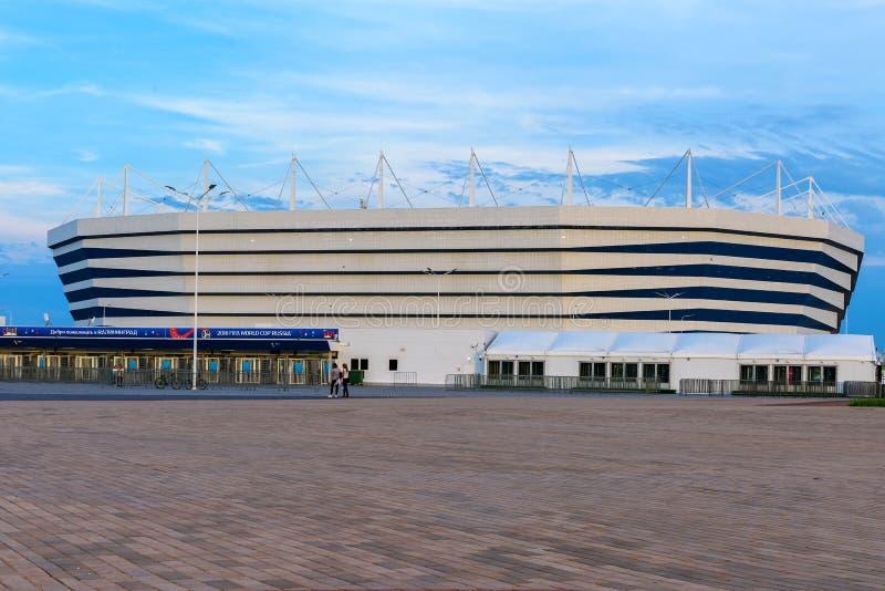 Kaliningrad Ryssland, Juni 10, 2018: Fotbollsarenaarena, var det ska finnas världscupen 2018 arkivbild