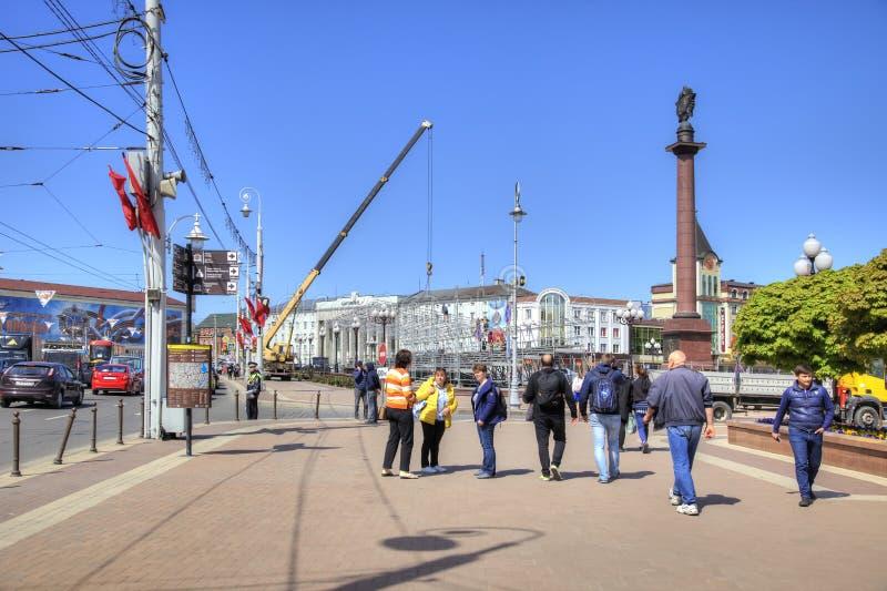 Kaliningrad Victory Square Coluna triunfal fotografia de stock