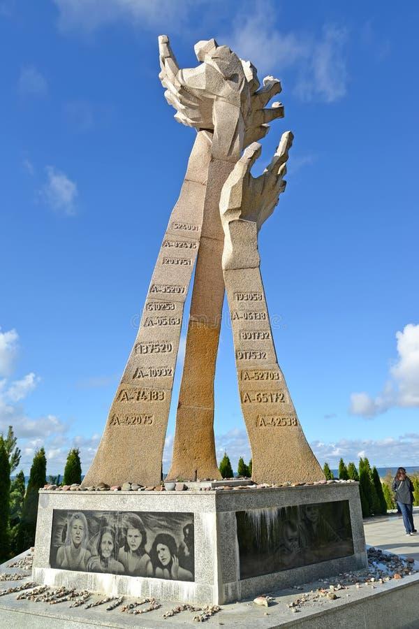Kaliningradgebied, Rusland Gedenkteken aan de 'slachtoffers van het Moeras van dood dichtbij Konigsberg 1945 ', 'Holocaust ' royalty-vrije stock afbeeldingen