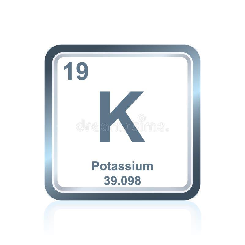 Kalium för kemisk beståndsdel från den periodiska tabellen royaltyfri illustrationer